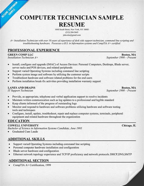 Technician Resume by Computer Technician Computer Technician Description Resume