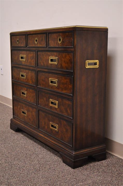 leather top caign style entry chest with brass pulls by