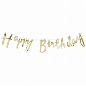 Happy Birthday Banner - Gold Metallic - Confetti co uk