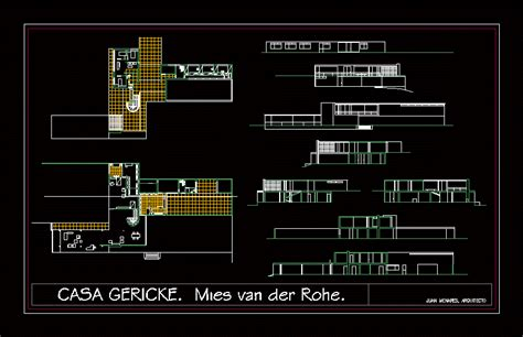 house gericke mies van der rohe dwg section  autocad