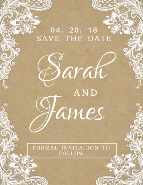 Lacey Save The Date Wedding Card Template PosterMyWall