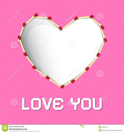 I Love You Theme, Safety Matches Heart Stock Vector