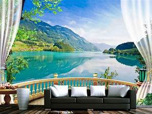 3d wallpaper nature balcony blue forest lake photo With markise balkon mit tapete mit punkten
