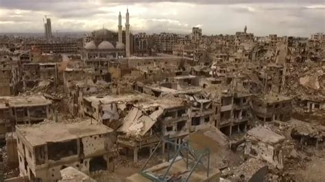Watch a drone convey the true extent of destruction in