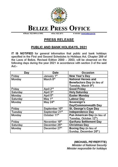 belize announces  public  bank holidays