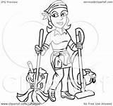Housekeeper Woman Clipart Mopping Vacuuming Illustration Royalty Vector Lafftoon sketch template