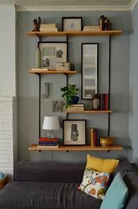 comment decorer le mur avec une belle etagere murale With decoration bibliotheque murale salon