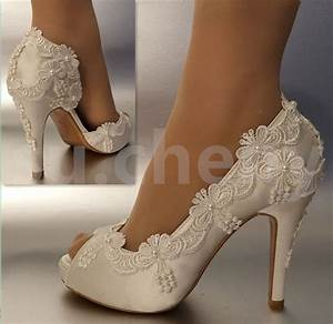3quot 4quot heel satin white ivory lace pearls open toe wedding With wedding shoes for lace dress