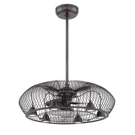 integrated curved cage light and ceiling fan in rubbed