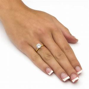188 tcw round cubic zirconia solitaire ring in 14k gold for Wedding rings to go with solitaire engagement ring