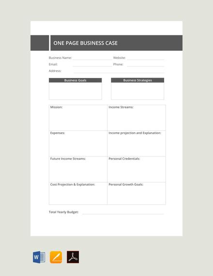 page business case template  word