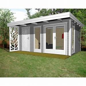 Gartenhaus Mit Flachdach : gartenhaus design flachdach mit anbau 40 mm nwh mainz 40230 naturholz gartenhaus ~ Frokenaadalensverden.com Haus und Dekorationen