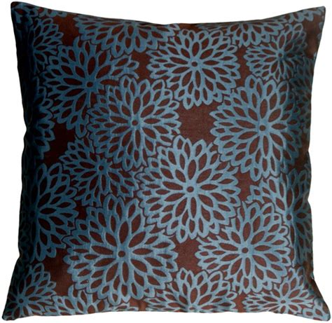 brown throw pillows floral bloom in teal blue and espresso brown throw pillow