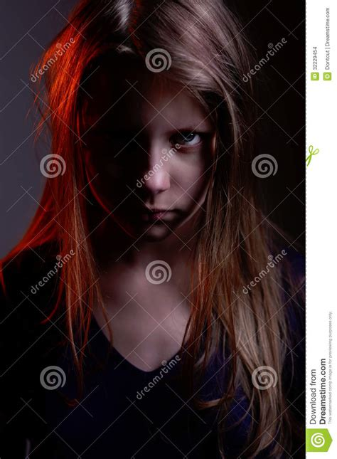 closeup portrait   scary  demon girl stock images