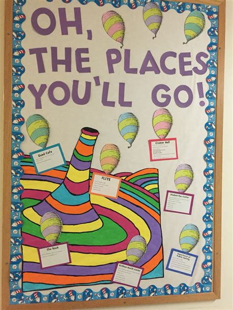 Oh The Places You Ll Go Decorations - oh the places you ll go on cus dr seuss bulletin