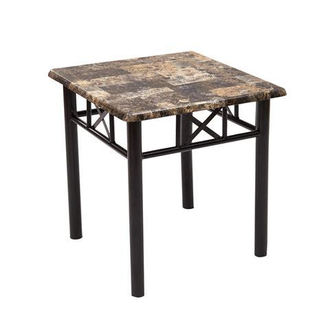 black metal end table adeco side end table faux marble top black metal base