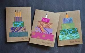 Geburtstagskarten Basteln Ideen : geburtstagskarten gestalten bunt papierstreifen torte diy kerzen karten spr che etc ~ Watch28wear.com Haus und Dekorationen
