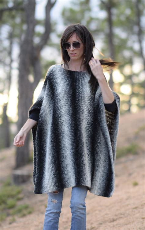 knitted poncho aspen relaxed knit poncho pattern in a stitch