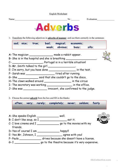 adverbs worksheet worksheet free esl printable