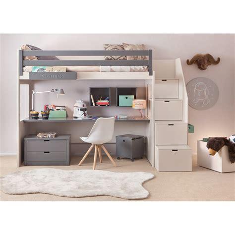 lit mezzanine 140 avec bureau chambre design spécial ados juniors signé asoral lit