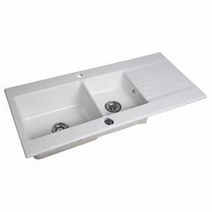 Evier a encastrer gres blanc trendy 2 bacs avec egouttoir for Salle de bain design avec evier gres 2 bacs