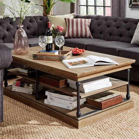 Storage is an important aspect for the design of the cube, a coffee table that transforms with ease to accommodate more guests. Weston Home Cabana Rectangular Storage Shelf Coffee Table, Brown - Walmart.com - Walmart.com