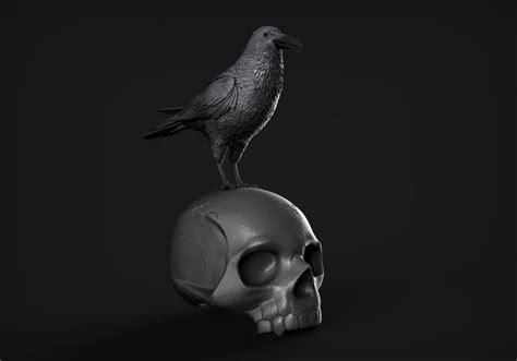 raven  skull  printable model cgtrader