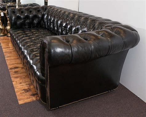 chesterfield tufted sofa midcentury chesterfield sofa in tufted black leather at