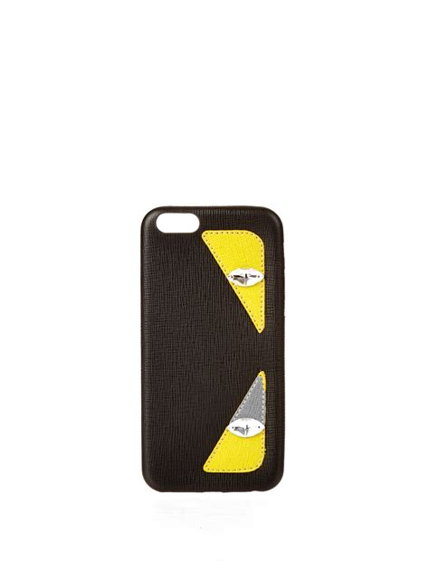 fendi iphone fendi bag bugs leather iphone 174 6 in black lyst