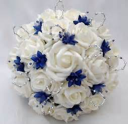 blue wedding flowers posies artificial wedding flowers brides posy bouquet and 2 bridesmaids posies ivory royal