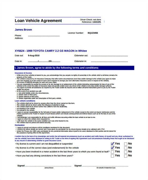 Employee Vehicle Use Agreement Template by Loan Agreement Form Exle 65 Free Documents In Word Pdf