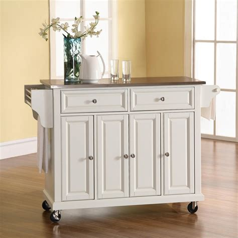 kitchen island on casters shop crosley furniture 52 in l x 18 in w x 36 in h white
