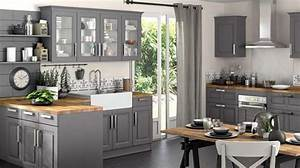 Cuisine grise total look bois brut degrade rustique for Petite cuisine équipée avec meuble de salle a manger contemporain