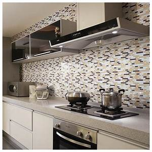 Travertine subway tile kitchen backsplash with a mosaic for Stick on tiles for bathroom