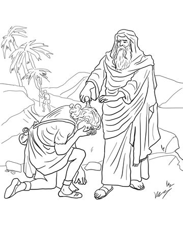 samuel anoints david  king coloring page  printable coloring pages
