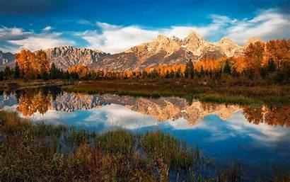 Mountain Fall Landscape Teton River Grand Nature