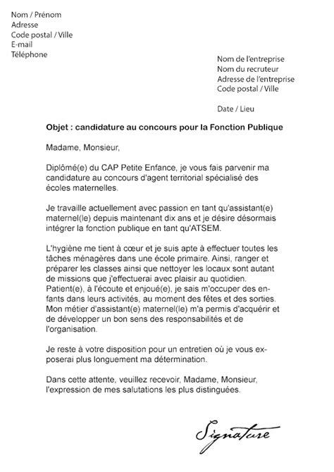 lettre de motivation concours fonction publique mod 232 le de lettre