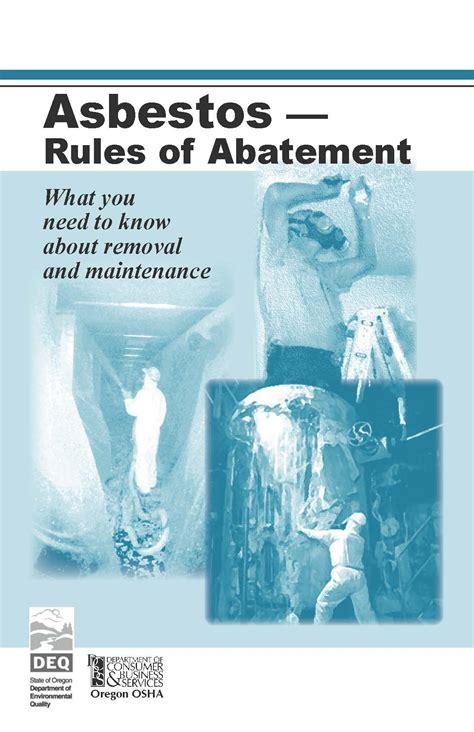 asbestos rules  abatement   oregon occupational