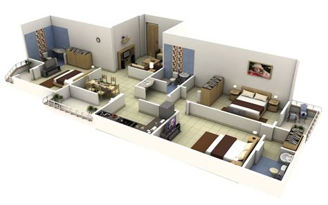 3 Bedroom Floor Plan In 3d by 3 Bedroom Apartment House Plans Smiuchin
