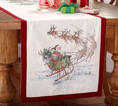 pottery barn christmas table runner nostalgic santa table runner pottery barn