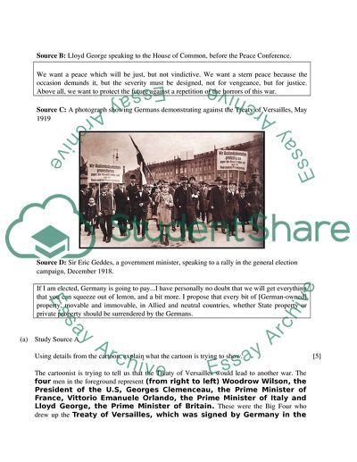 History Source Based Questions Treaty Of Versailles Essay