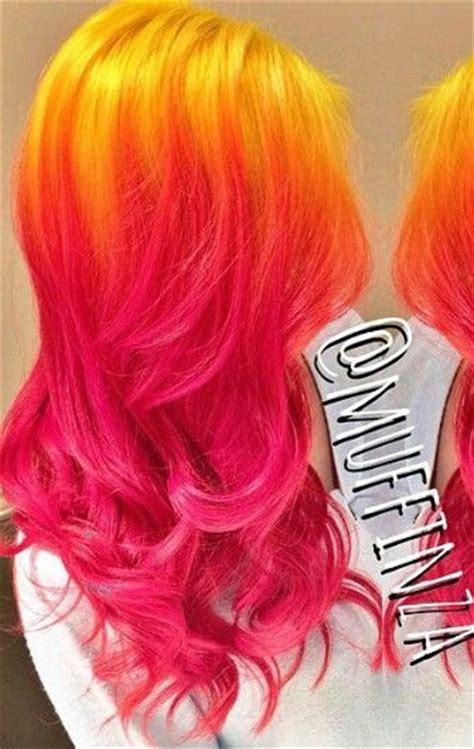 Yellow Pink Ombre Hair Colorful Hair Pinterest