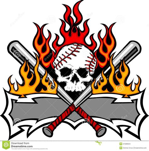 softball baseball skull  bats flaming template stock