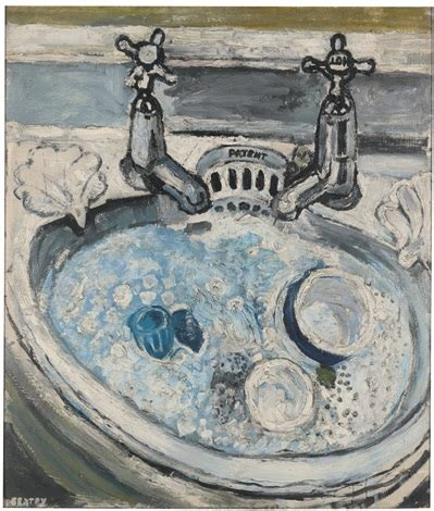 bratby kitchen sink breakfast things in a basin with water bubbles and 4904