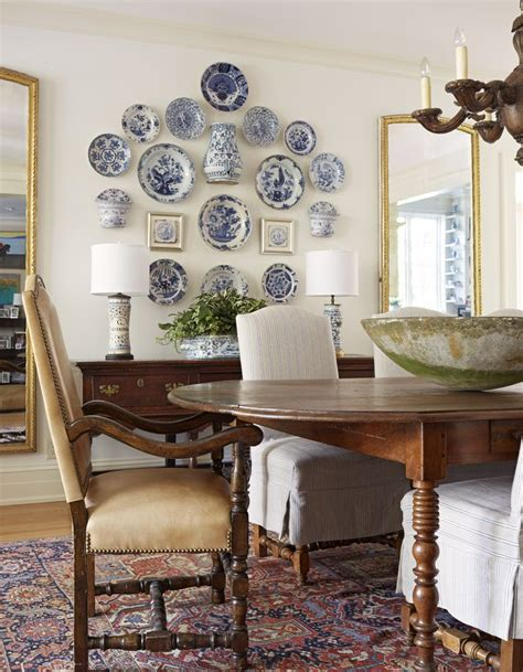 delft collection   dining room wall blue  white