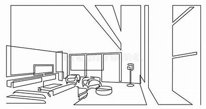 Line Drawing Continuous Area Flat Screen Spacious