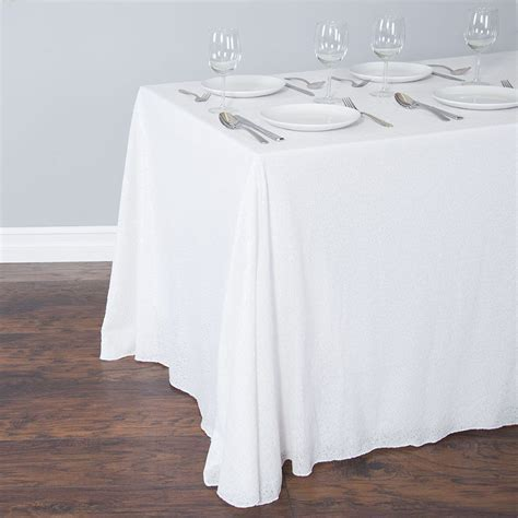 88 x 130 in. Rectangular Sequin Tablecloth White: Linen