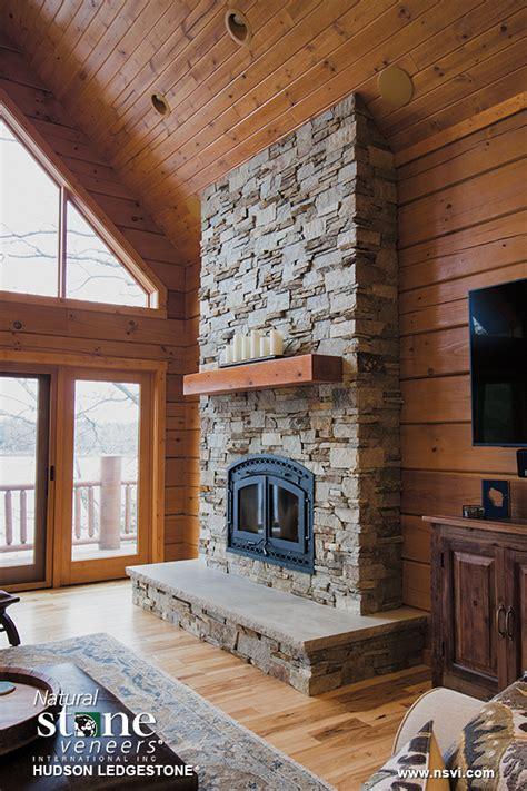 hudson ledgestone lakehouse fireplace natural stone