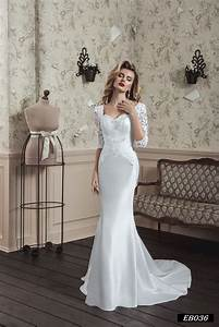 eb036 satin trumpet mermaid handmade half sleeve wedding With wedding dresses half sleeve