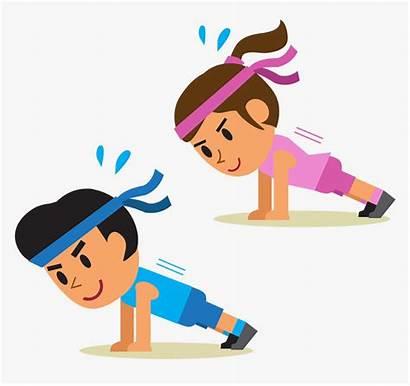 Exercise Cartoon Push Plank Physical Clipart Clip